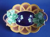 Wedgwood Majolica 'Vine Leaf and Basket Weave' Oval Dish c1871
